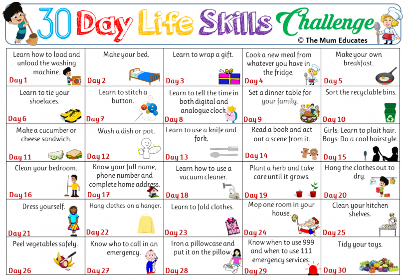 30 day life skill chanllenge
