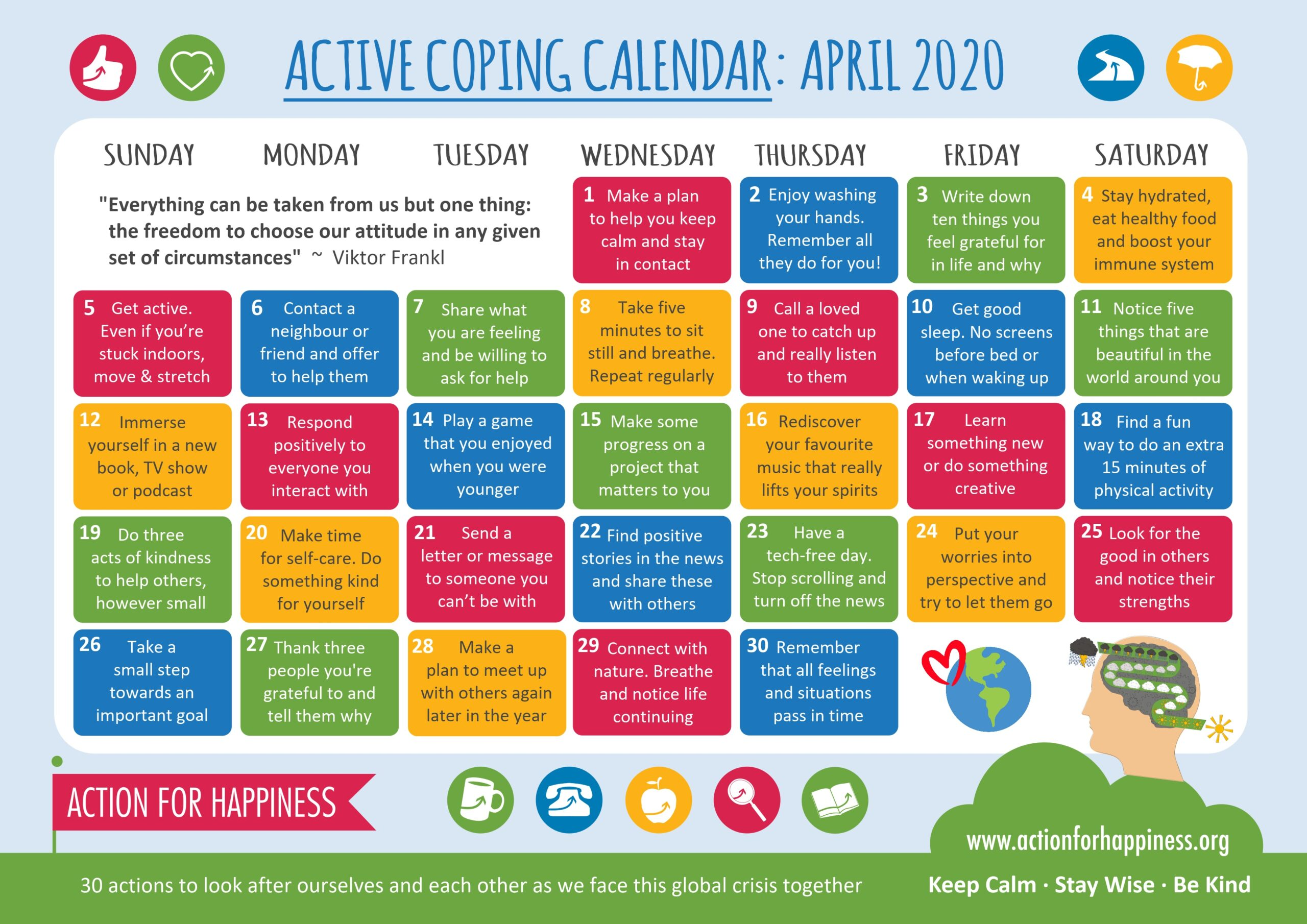 action for happiness calendar April