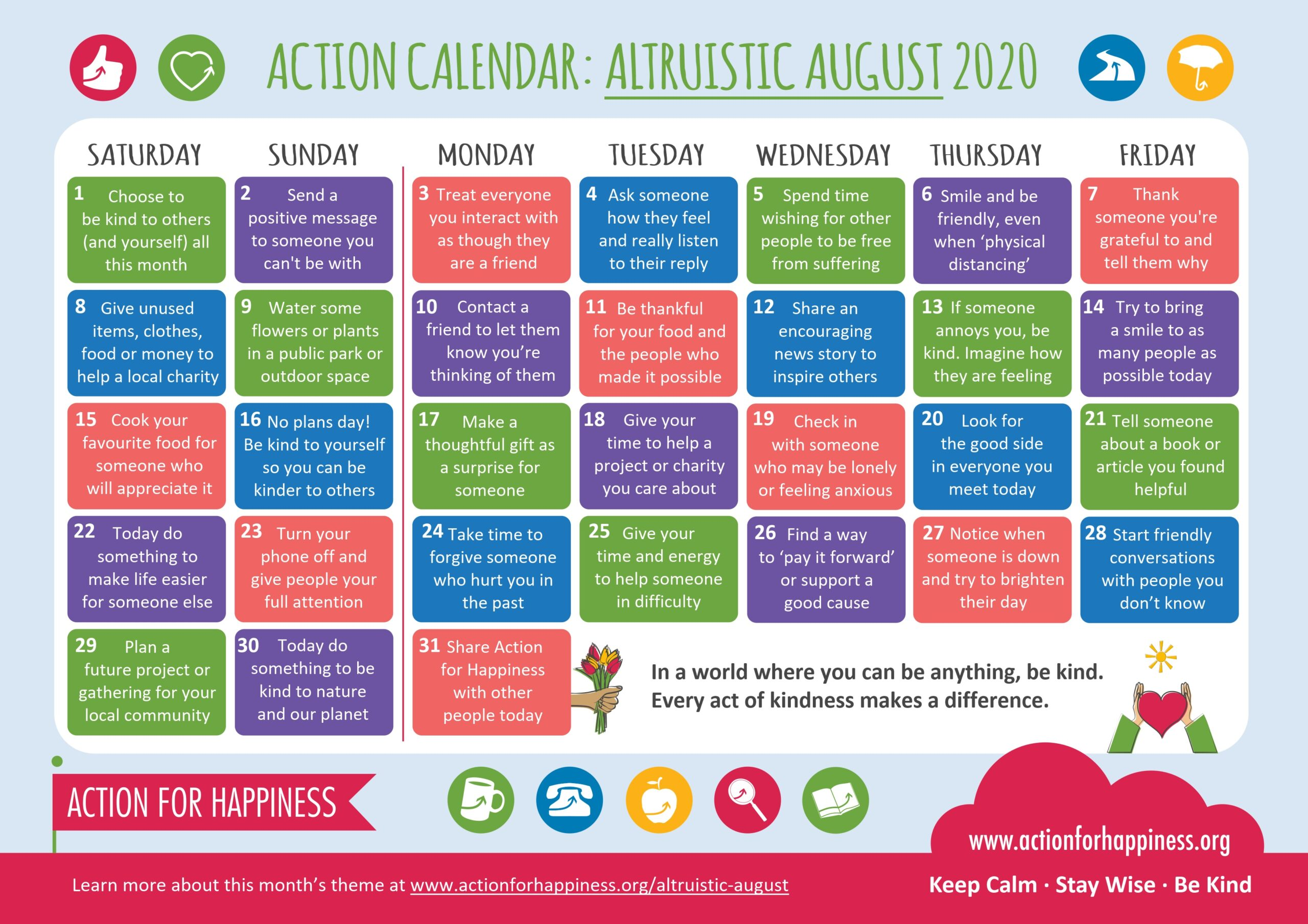 action for happiness calendar Aug