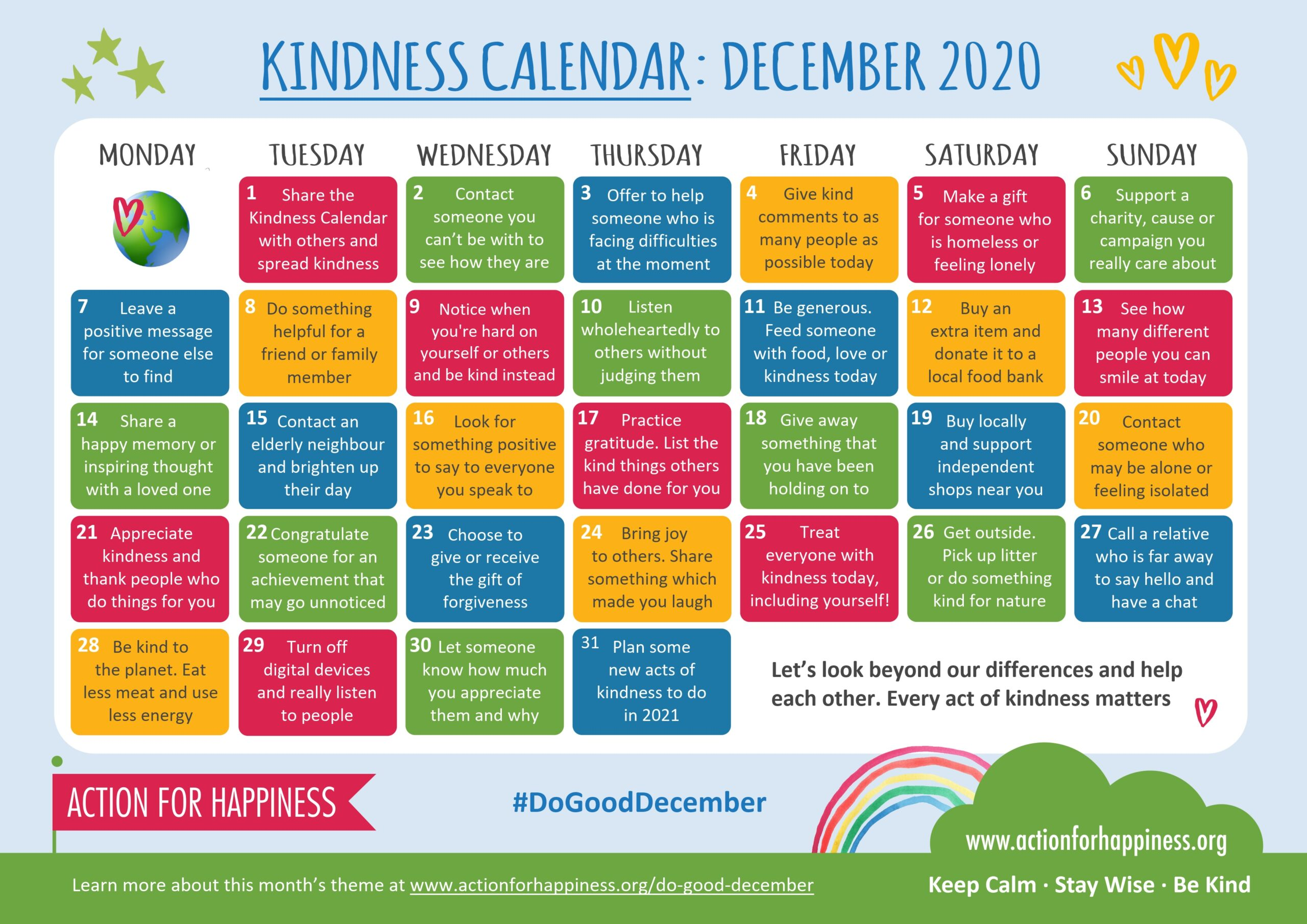 action for happiness calendar Dec