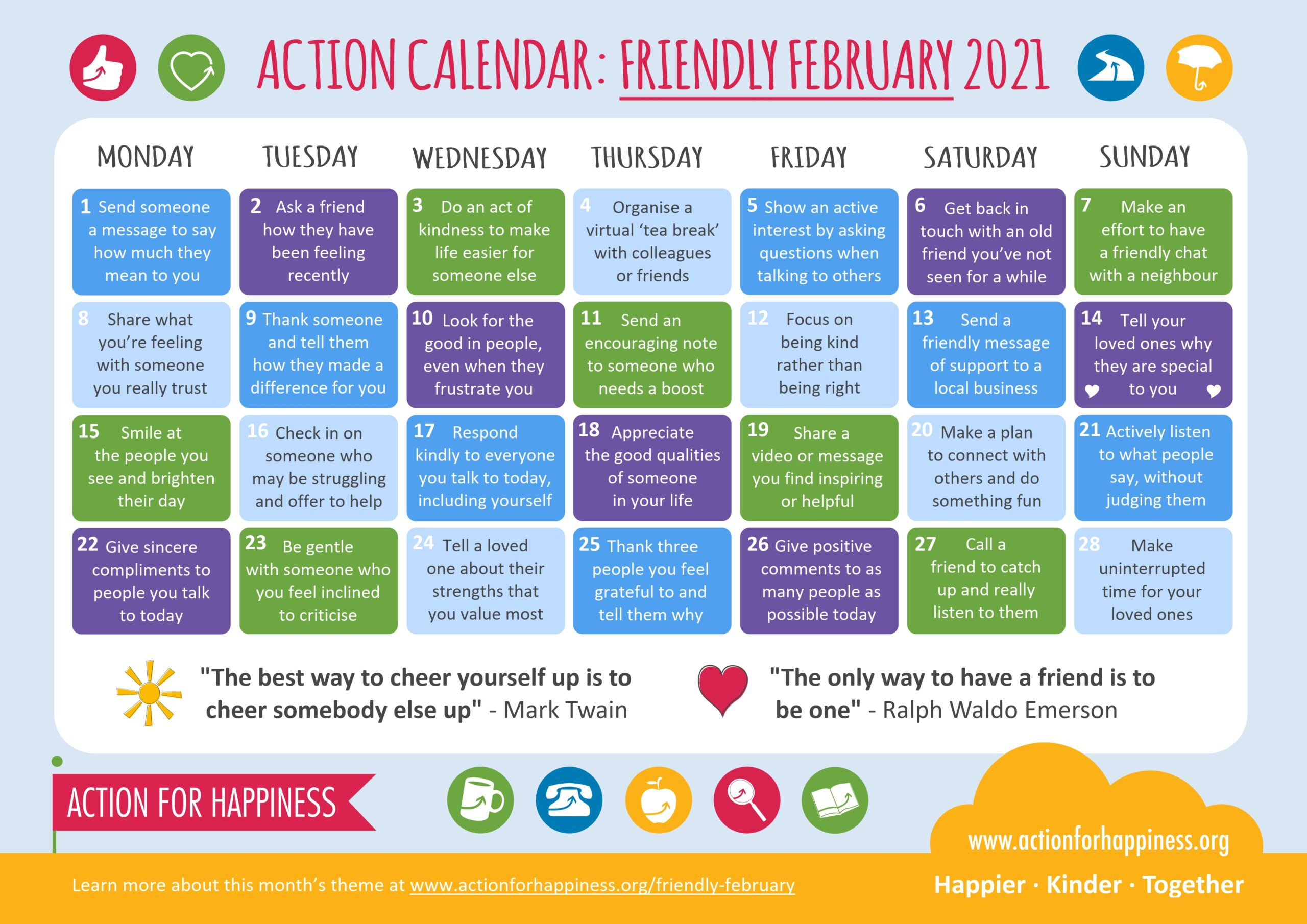 action for happiness calendar Feb