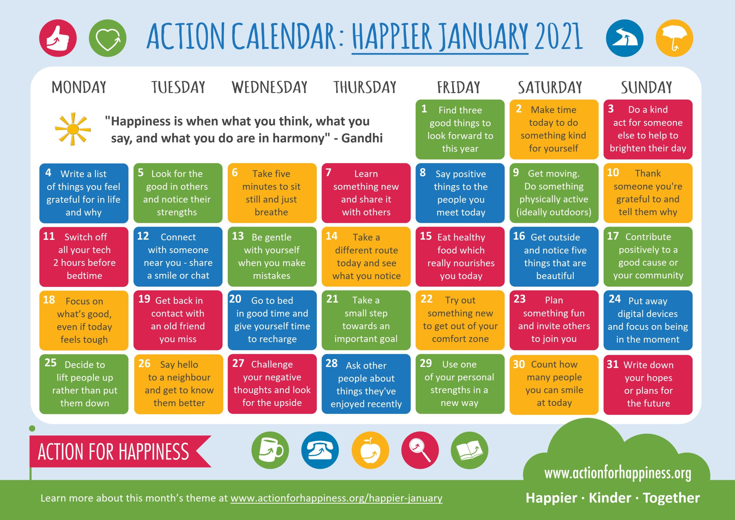 action for happiness calendar Jan
