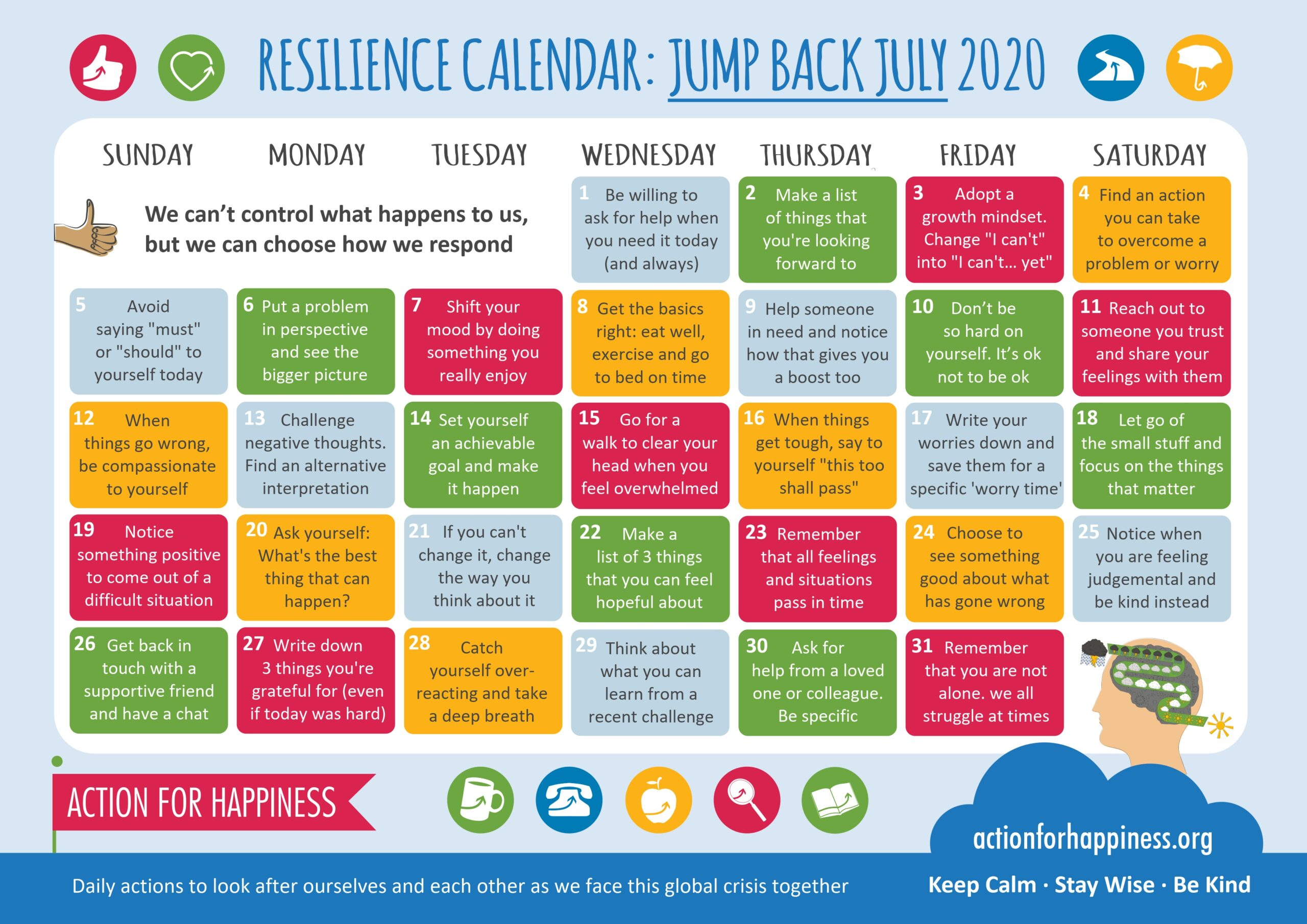 action for happiness calendar July