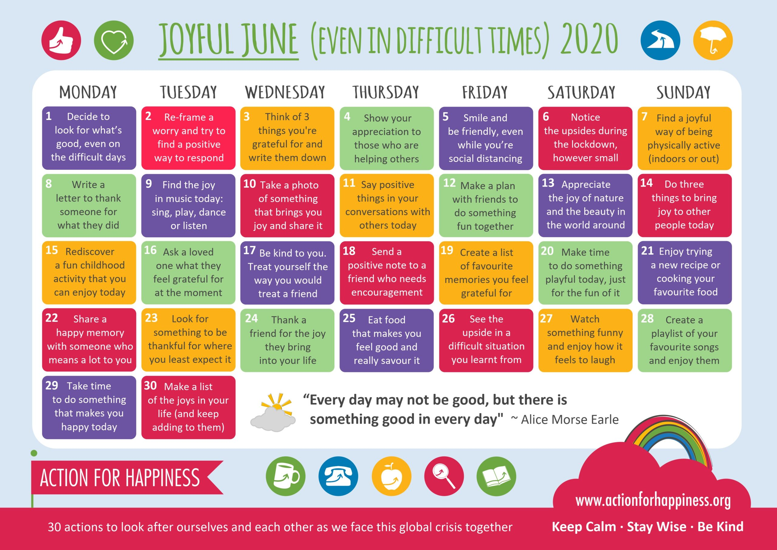 action for happiness calendar June
