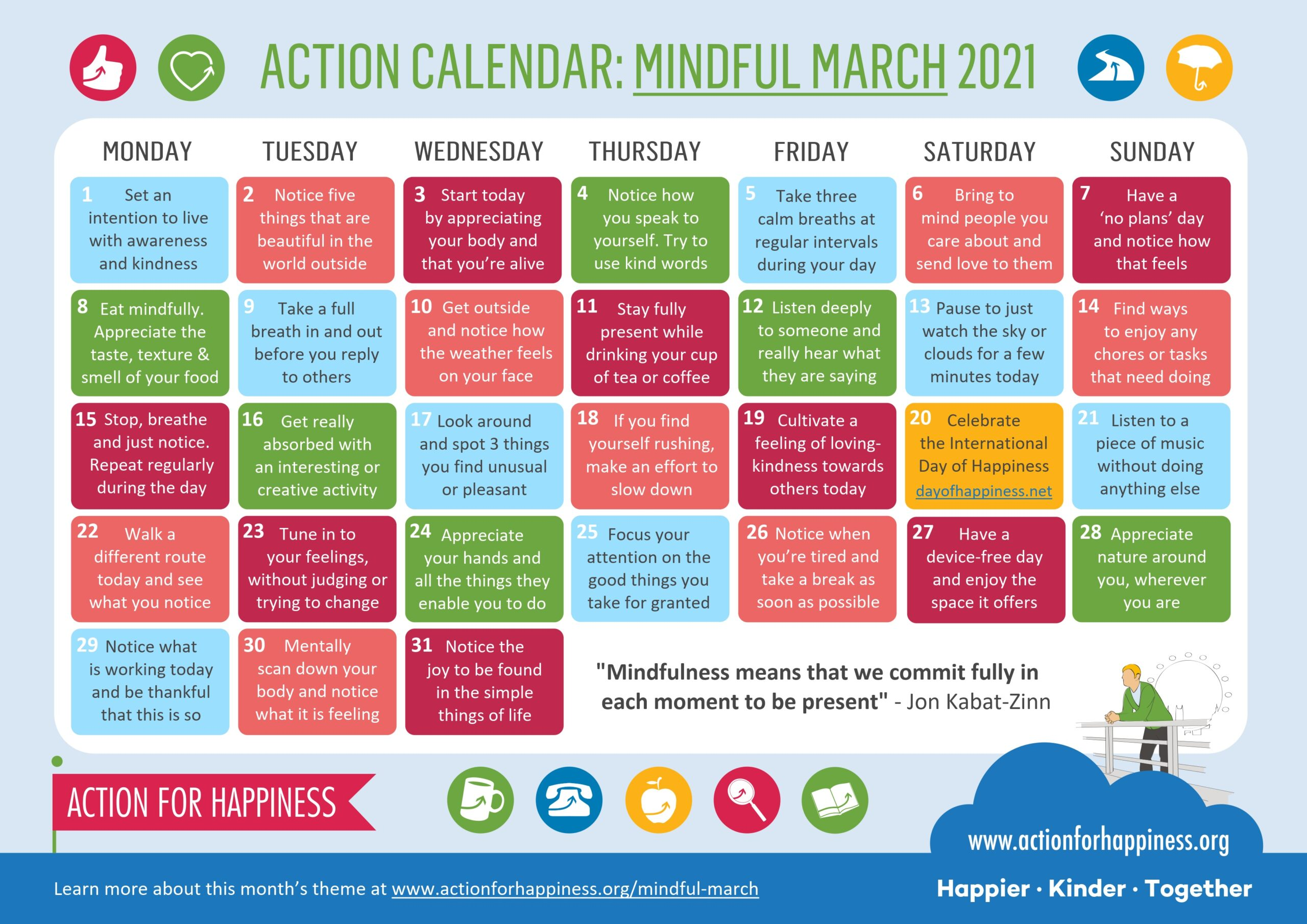 action for happiness calendar March