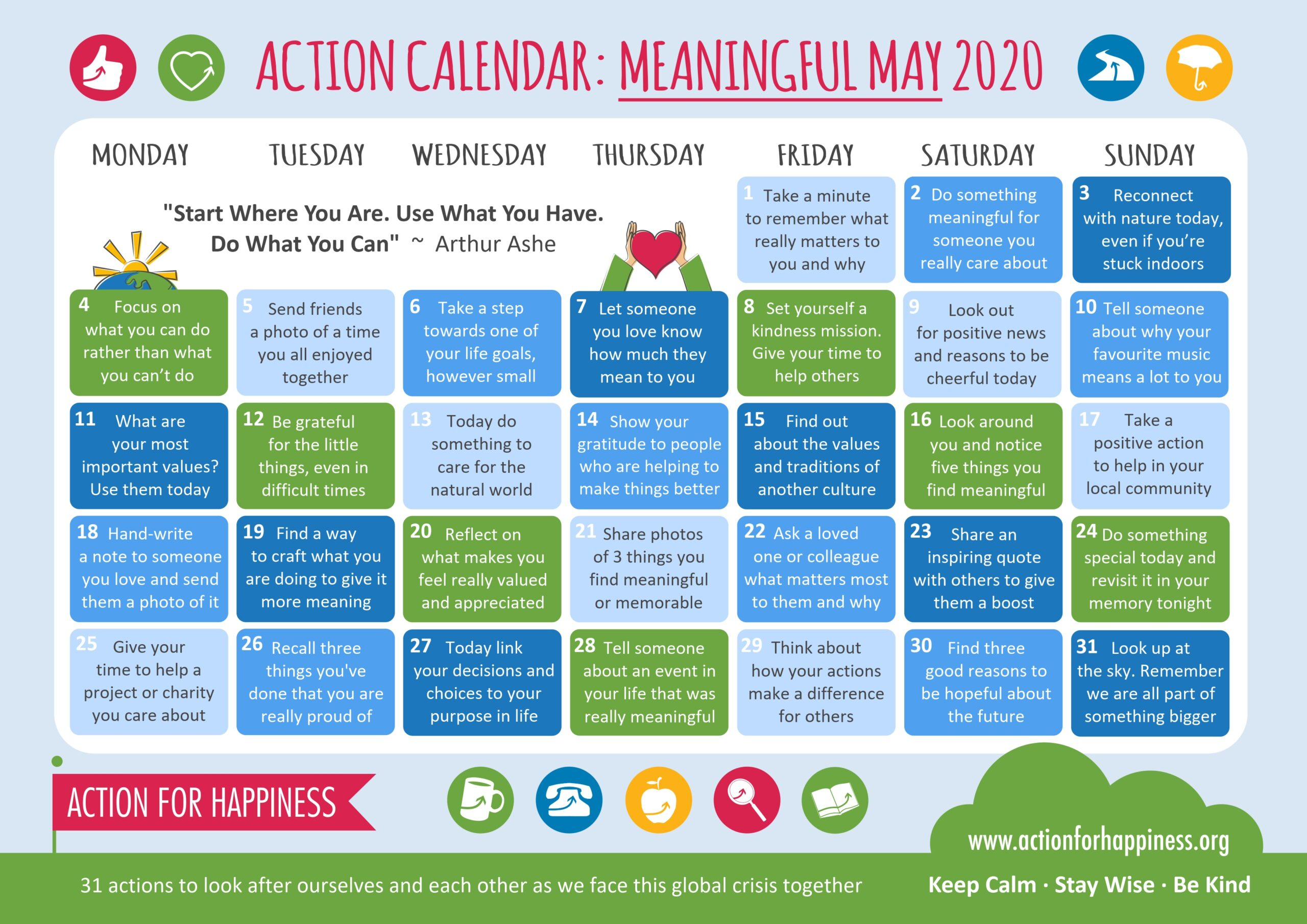 action for happiness calendar May