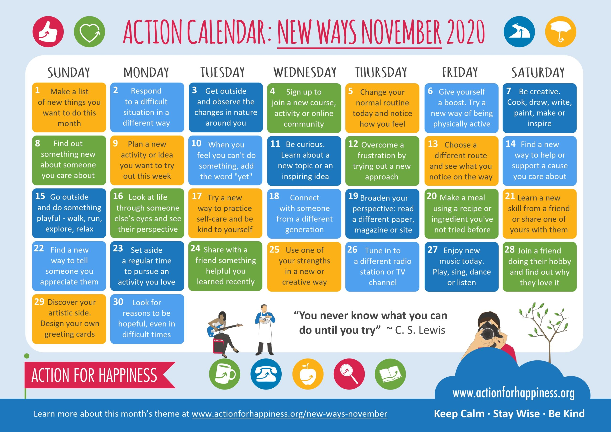 action for happiness calendar Nov
