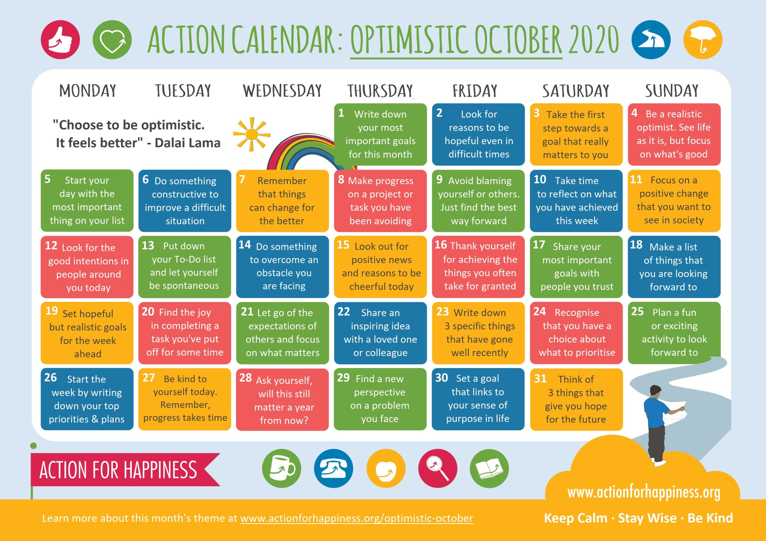 action for happiness calendar Oct